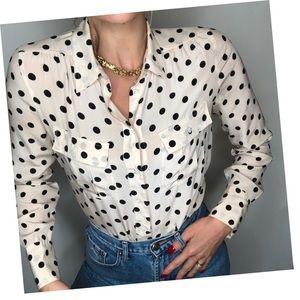 J Crew Blythe silk blouse in polka dot, Size 4